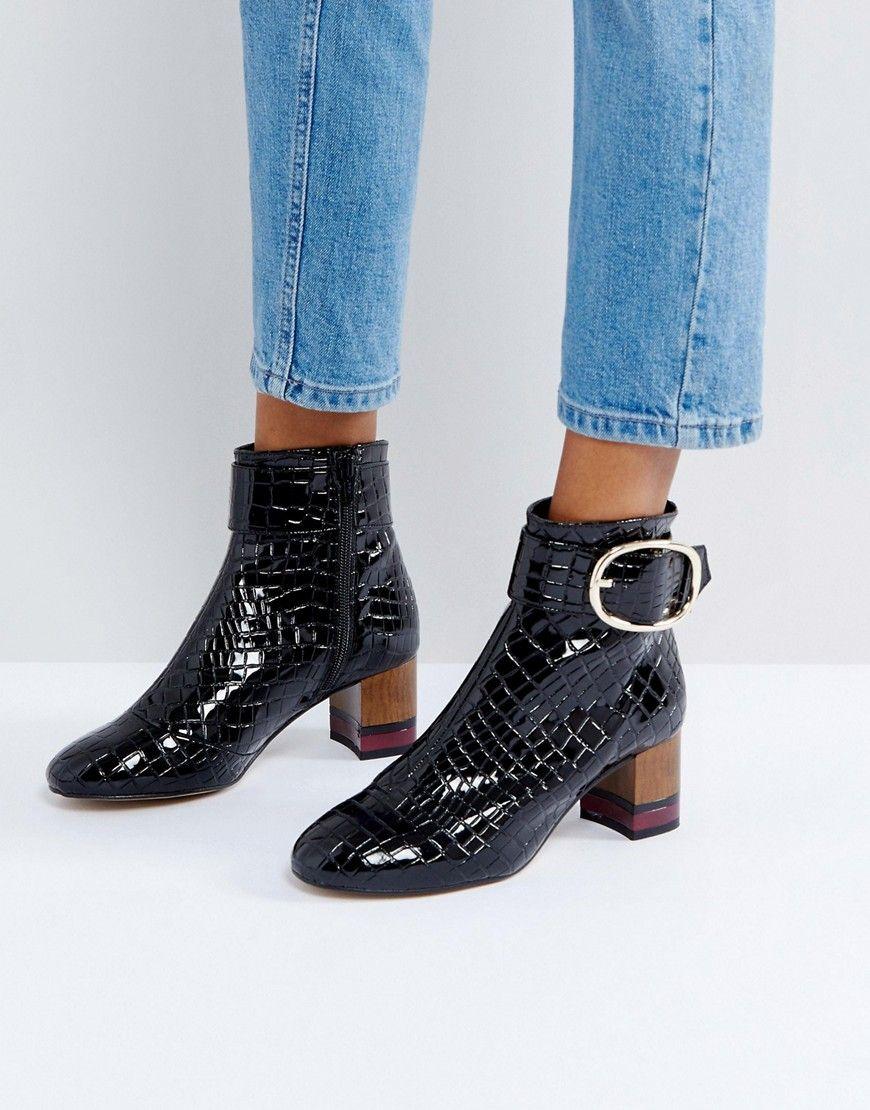70c30230b0f KG by Kurt Geiger Ringo Croc Effect Block Heeled Ankle Boots - Black ...