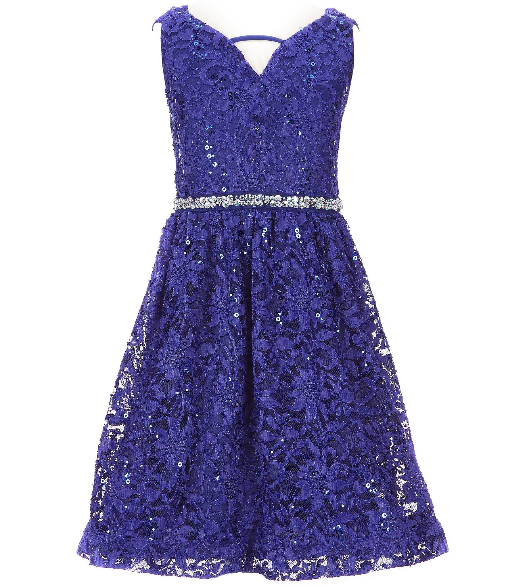 Xtraordinary big girls sequinembellished fitandflare lace