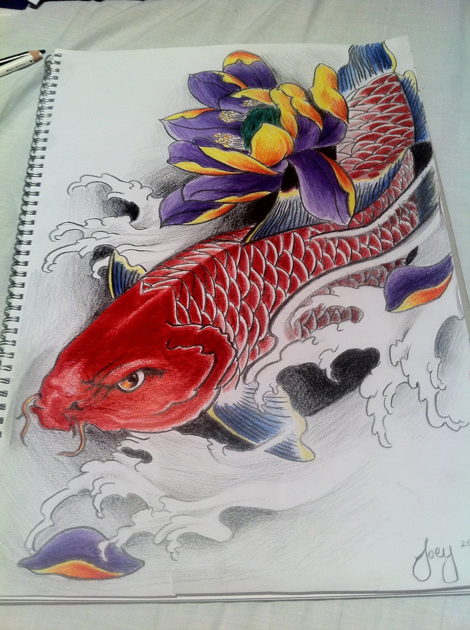 Red koi fish with lotus by j0oey 1529 2048 for Red koi fish