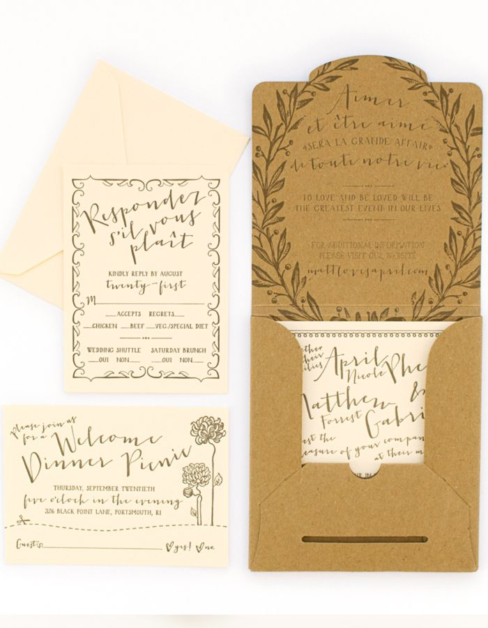 French Garden Inspired Wedding Invitations by Coral Pheasant