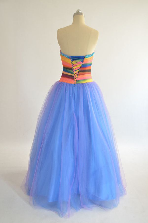 Rainbow Style Floor-length Sweetheart Blue Skirt Tulle Bridesmaid Dress with Sequins