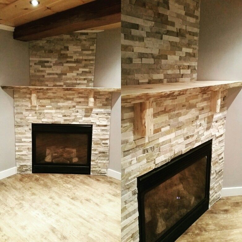 """Handcrafted 6' x 15"""" live edge mantle with stack stone fireplace surround"""