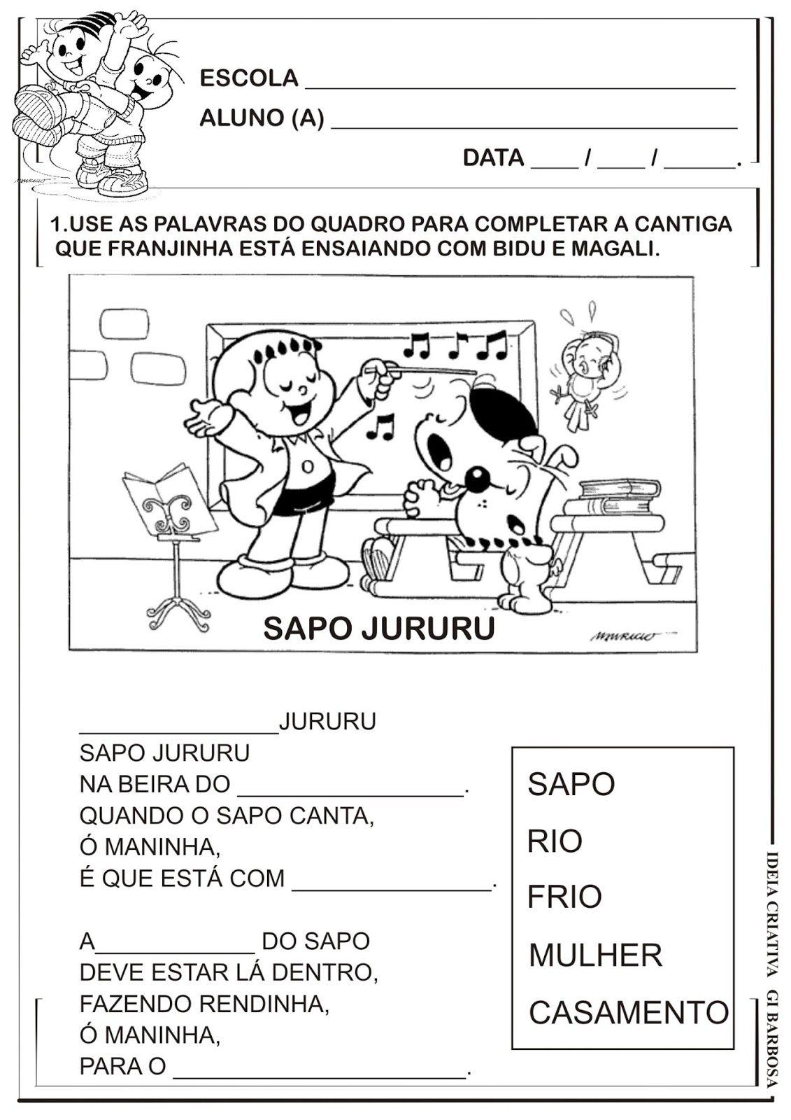 Atividade Alfabetizacao Cantiga De Roda Com Imagens Atividades