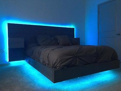 Details About Hand Made Floating Platform Bed With Lighted