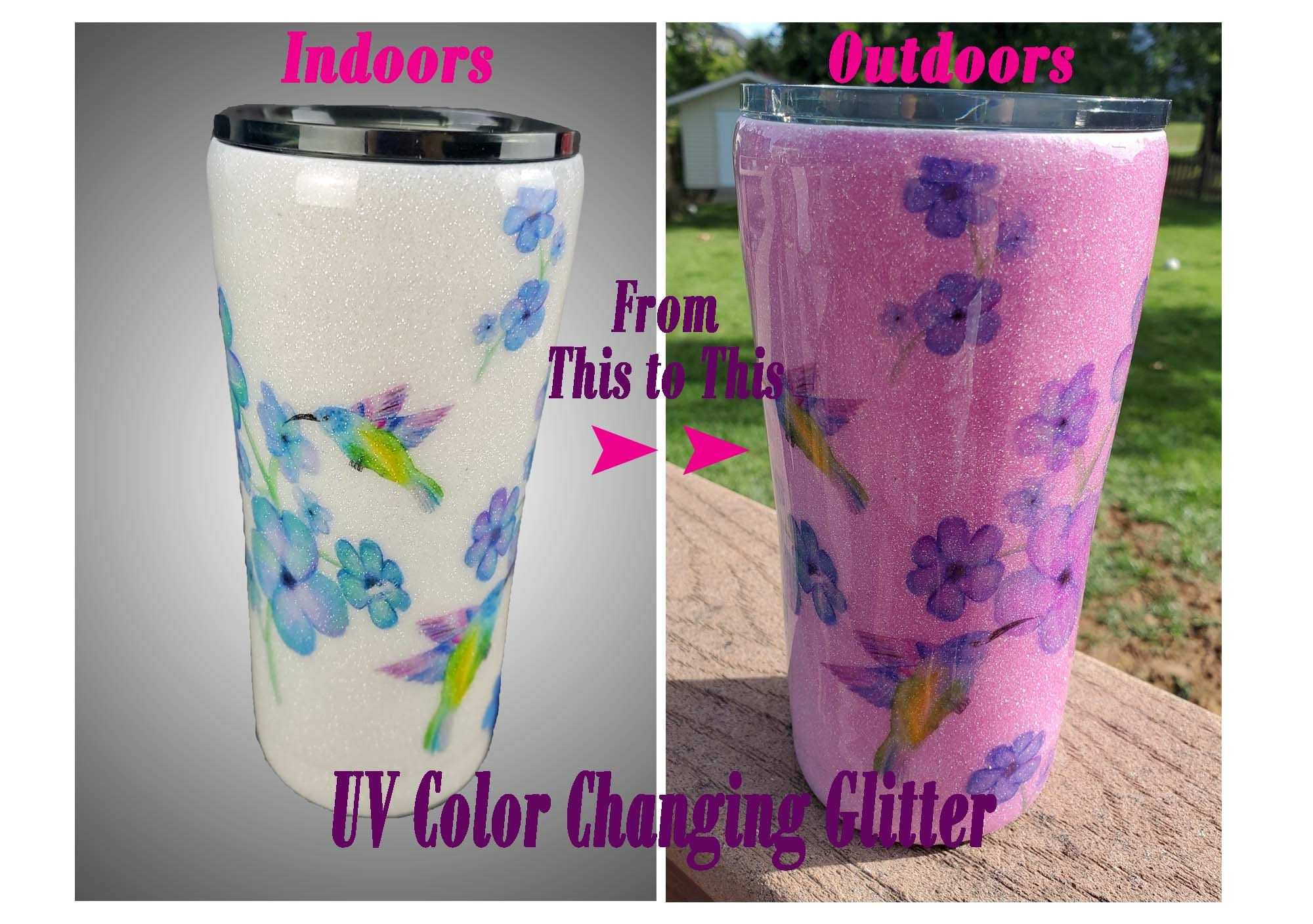 Photo of Color Changing Coffee Tumbler, UV White to Magenta, Hummingbird Tumbler, Personalized Gift, Glitter Tumbler