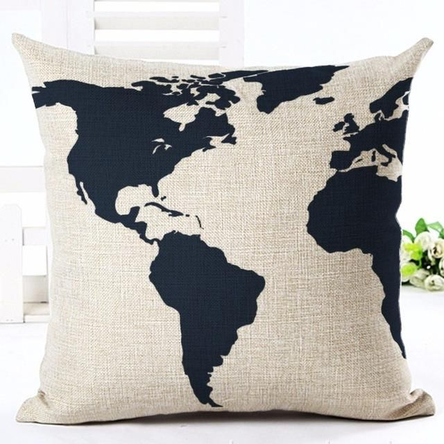 Cushion Cover High Quality Retro Style Fashion Map New Home Decorative Cushion Sofa Throw Pillowcase Square Cojines Cotton Linen Almofadas