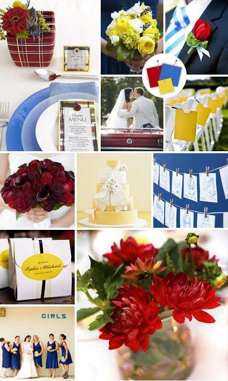 Wedding Color Palettes: Blue, Yellow, Burgundy
