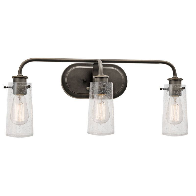 interesting bathroom light fixtures%0A Shop for the Kichler Olde Bronze Braelyn   Light Wide Bathroom Fixture with  Seedy Glass Shades and save