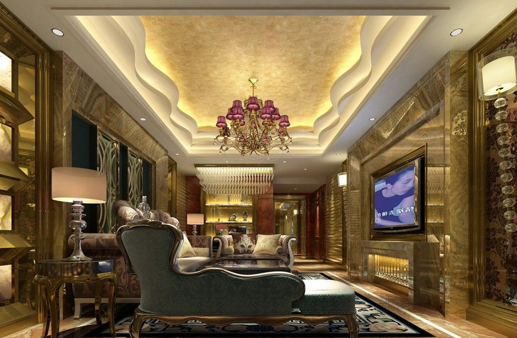 Luxurious Gypsum Ceiling Decoration For Villa Living Room Interior Design Rendering Projects