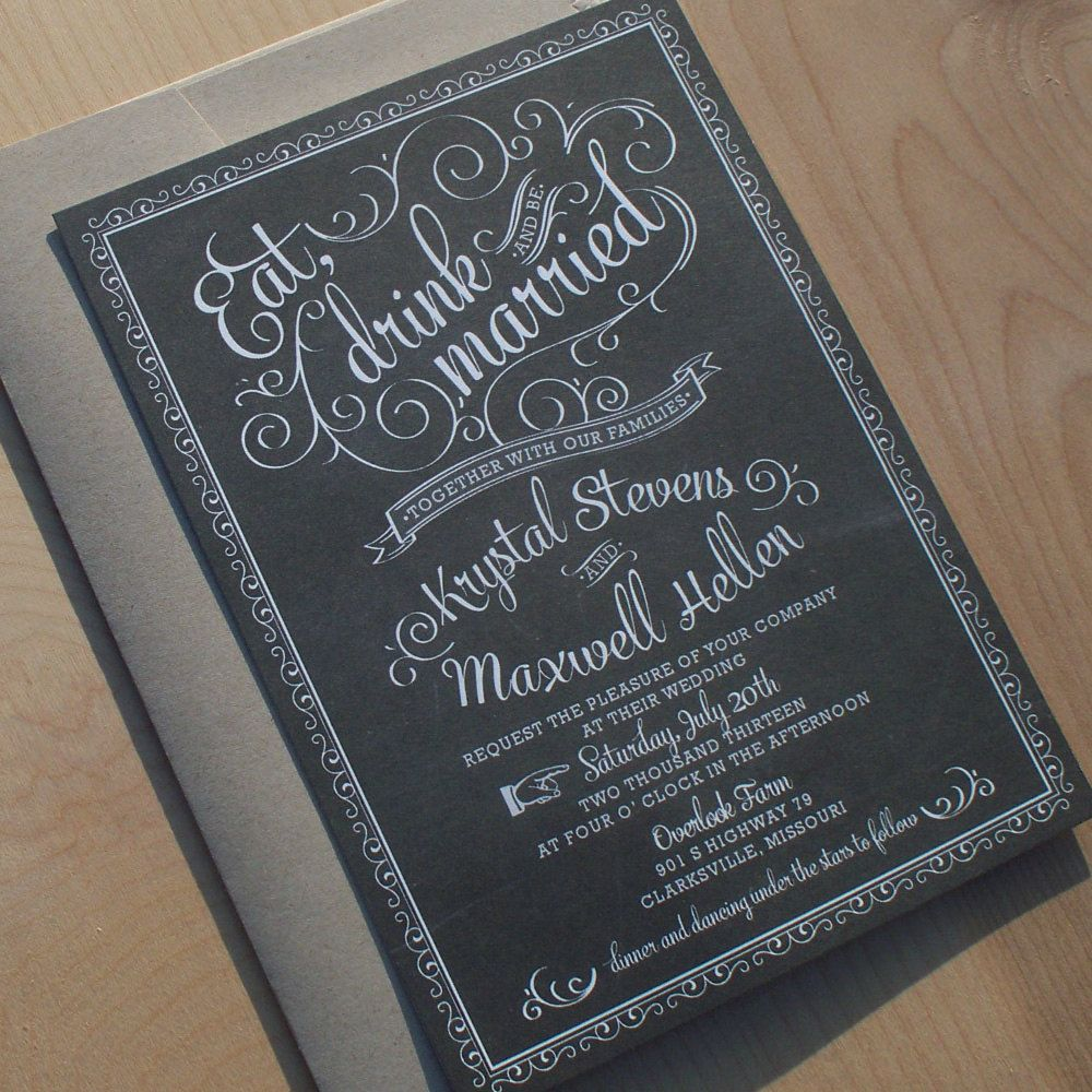 vintage wedding invitation text%0A Chalkboard Wedding Invitations  vintage chic  rustic chic  hand drawn cafe  poster invitation