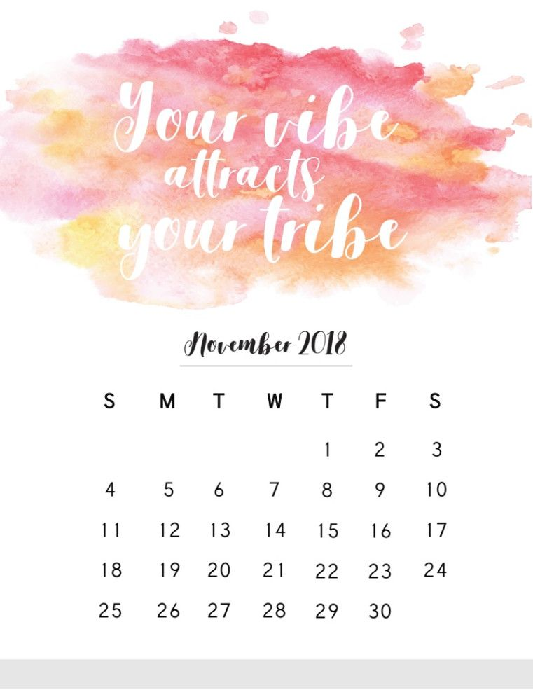 November 2018 Calendar With Quotes