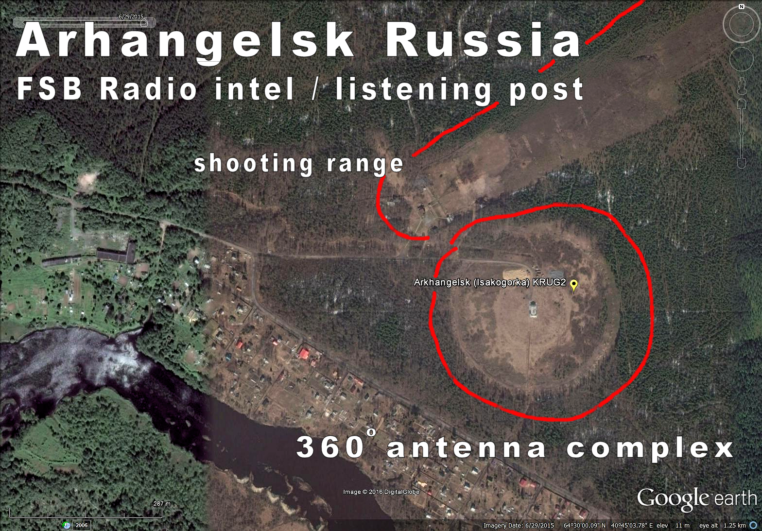 Russia Arhangelsk KRUG circle antenna farm made