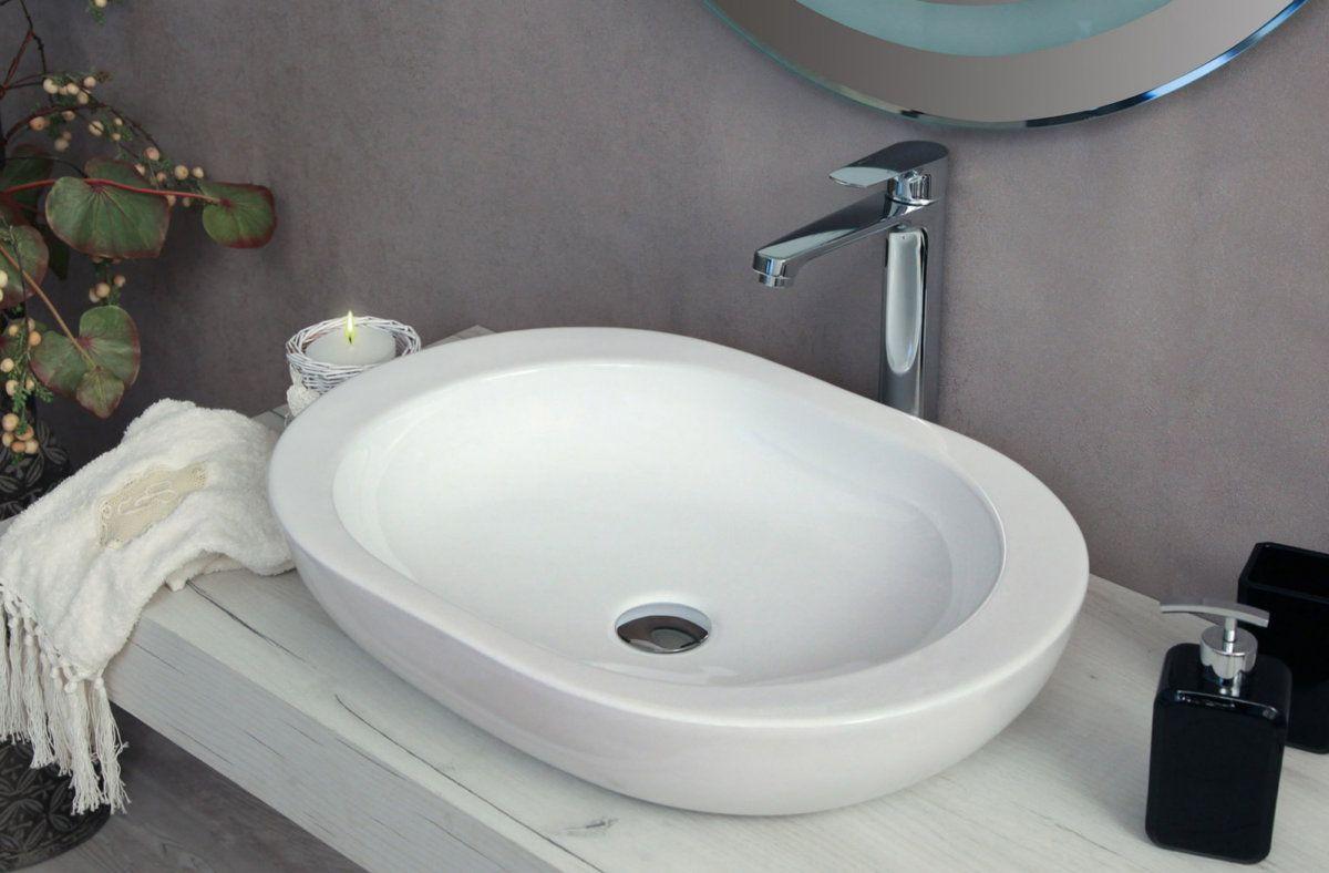 Lavabo da appoggio rettangolare quadrato rotondo ovale in ceramica ...
