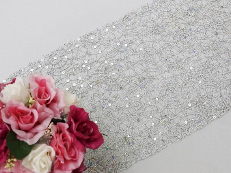 Sequin Studded Lace Table Runners U2013 Silver | Tablecloths Factory