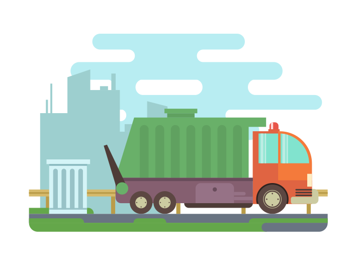 Garbage Truck Flat Illustration Kit8 Garbage Truck Truck Art Truck Graphics