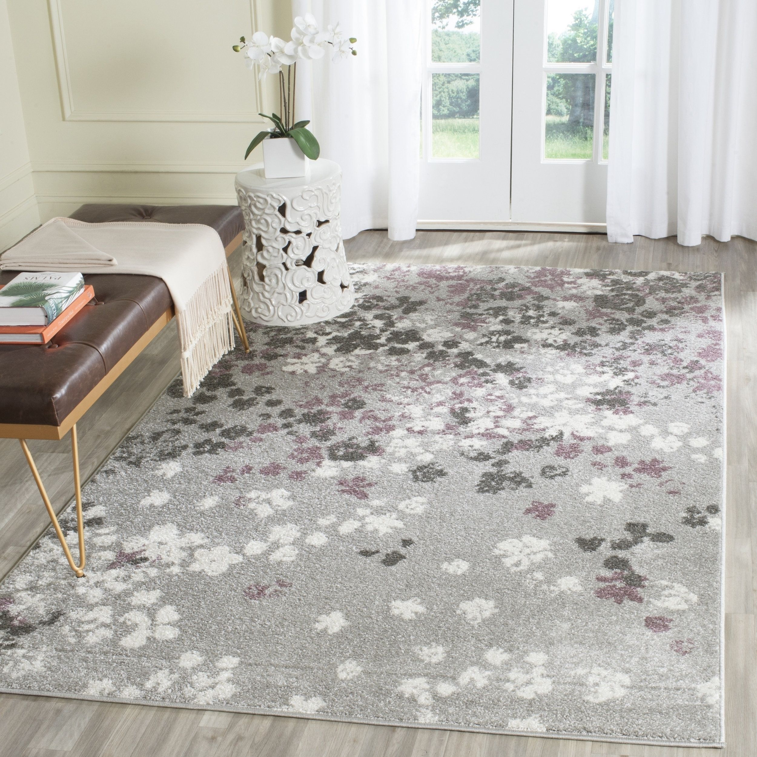 safavieh adirondack vintage floral light grey purple rug 4 x 4 rh pinterest se