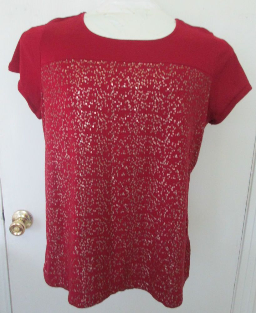 Liz Claiborne Woman short sleeve cotton top size 1X brick red with gold sequins #LizClaiborne #Blouse #CareerCasual. http://www.ebay.com/itm/Liz-Claiborne-Woman-short-sleeve-cotton-top-size-1X-brick-red-with-gold-sequins-/281433721353?ssPageName=STRK:MESE:IT