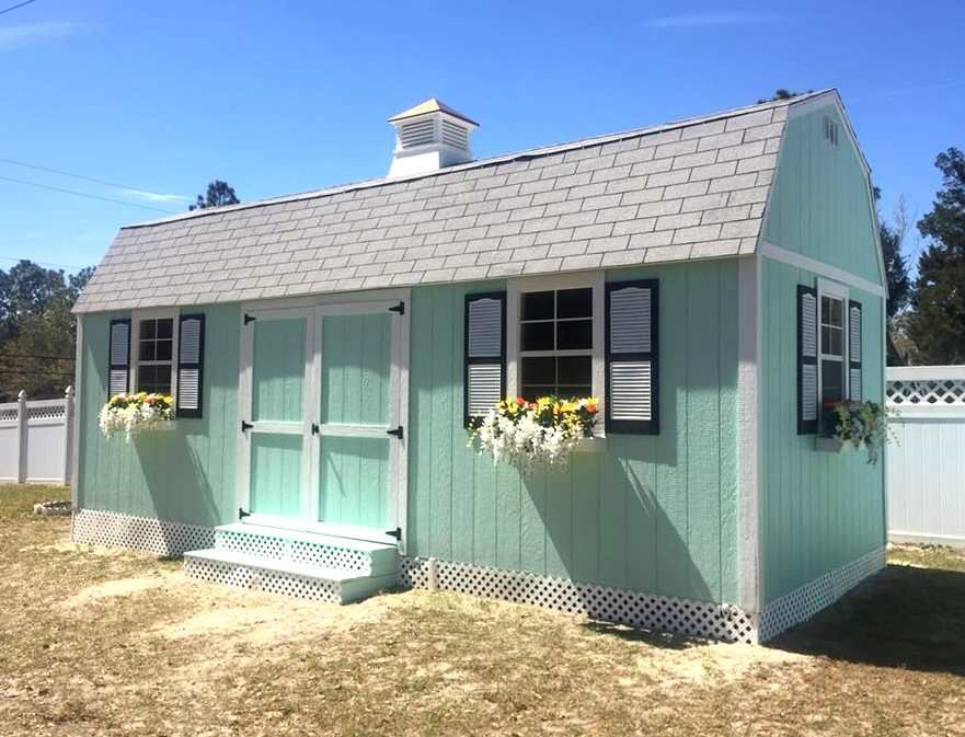 Side Lofted Barn 10x24 With Custom Color Four Windows Flower Boxes And Cupola Customer Supplied Shutters And Skirting Portable Buildings Shed With Loft Shed