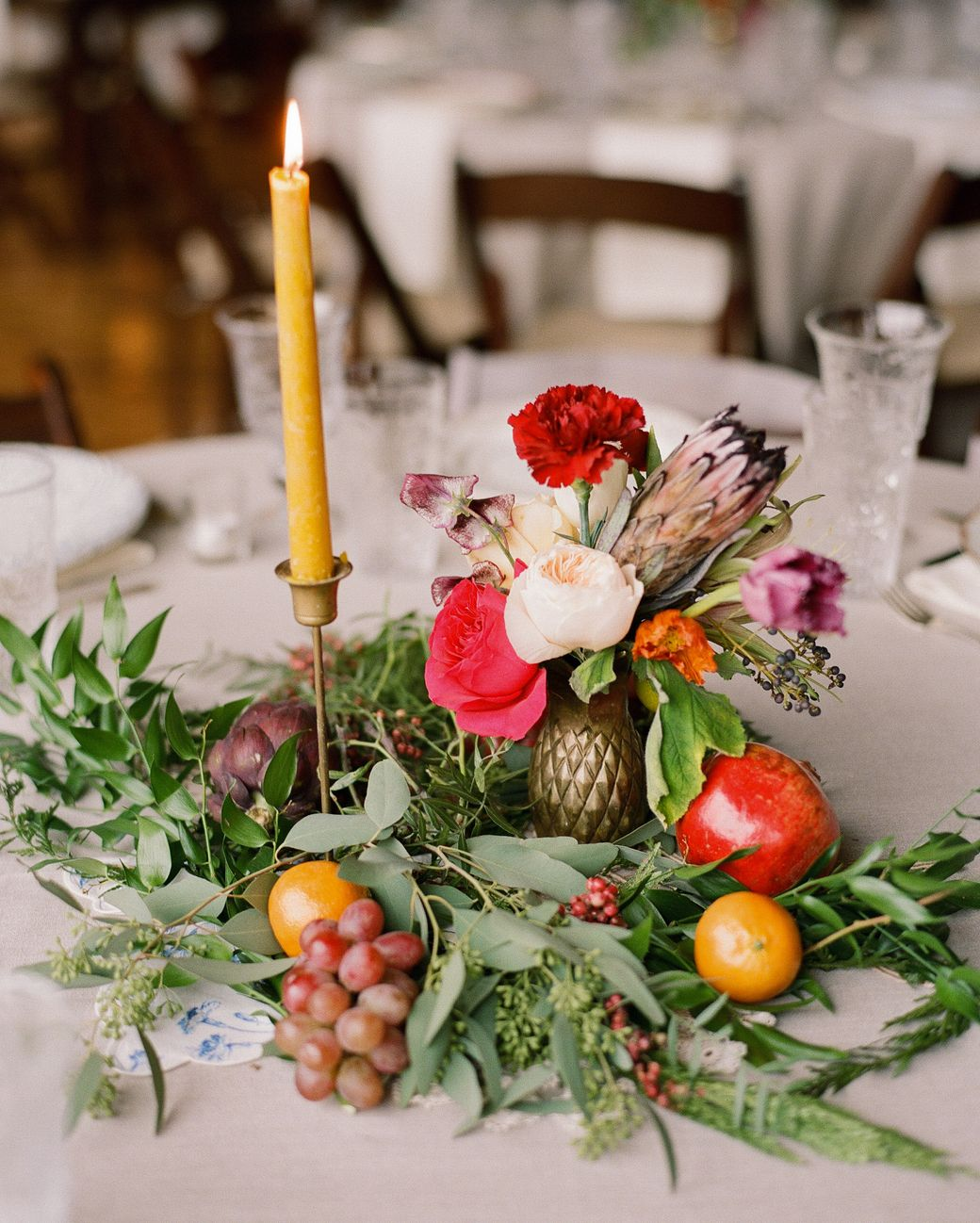 pinterest wedding table decorations candles%0A    Wedding Centerpieces Bursting with Fruits and Vegetables