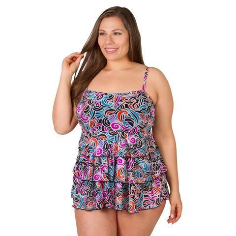 30e8a88b89 Avain Swirl Underwire Plus Size Swimwear Tankini Top