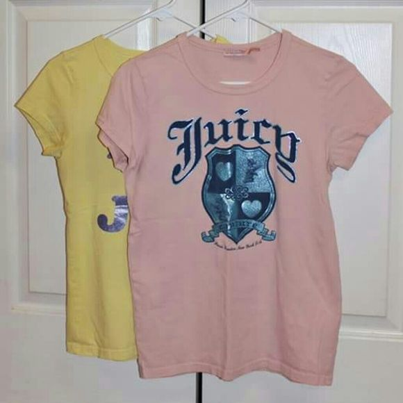 Juicy Couture T-Shirt Bundle Two cute Juicy tops for one price.  Both have shiny, glittery print on them.  & both are in great shape! Juicy Couture Tops Tees - Short Sleeve