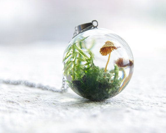 Whimsical Fungus Sphere Necklace - Forest Lichen and Moss in clear resin - unusual necklace