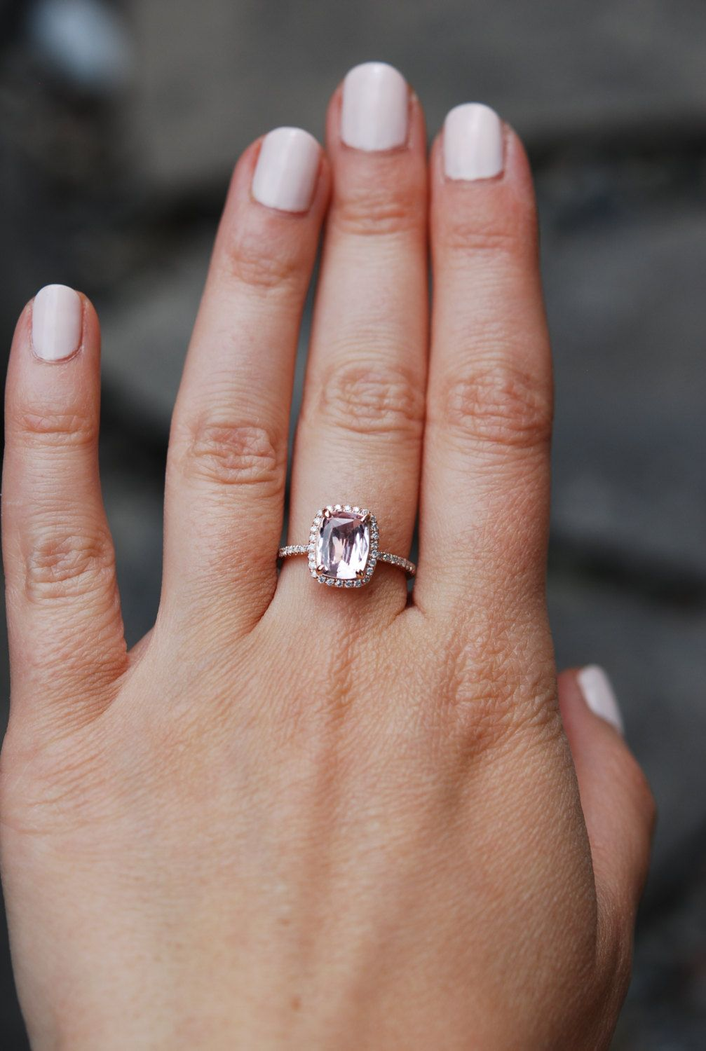 Peach sapphire ring k rose gold diamond engagement ring