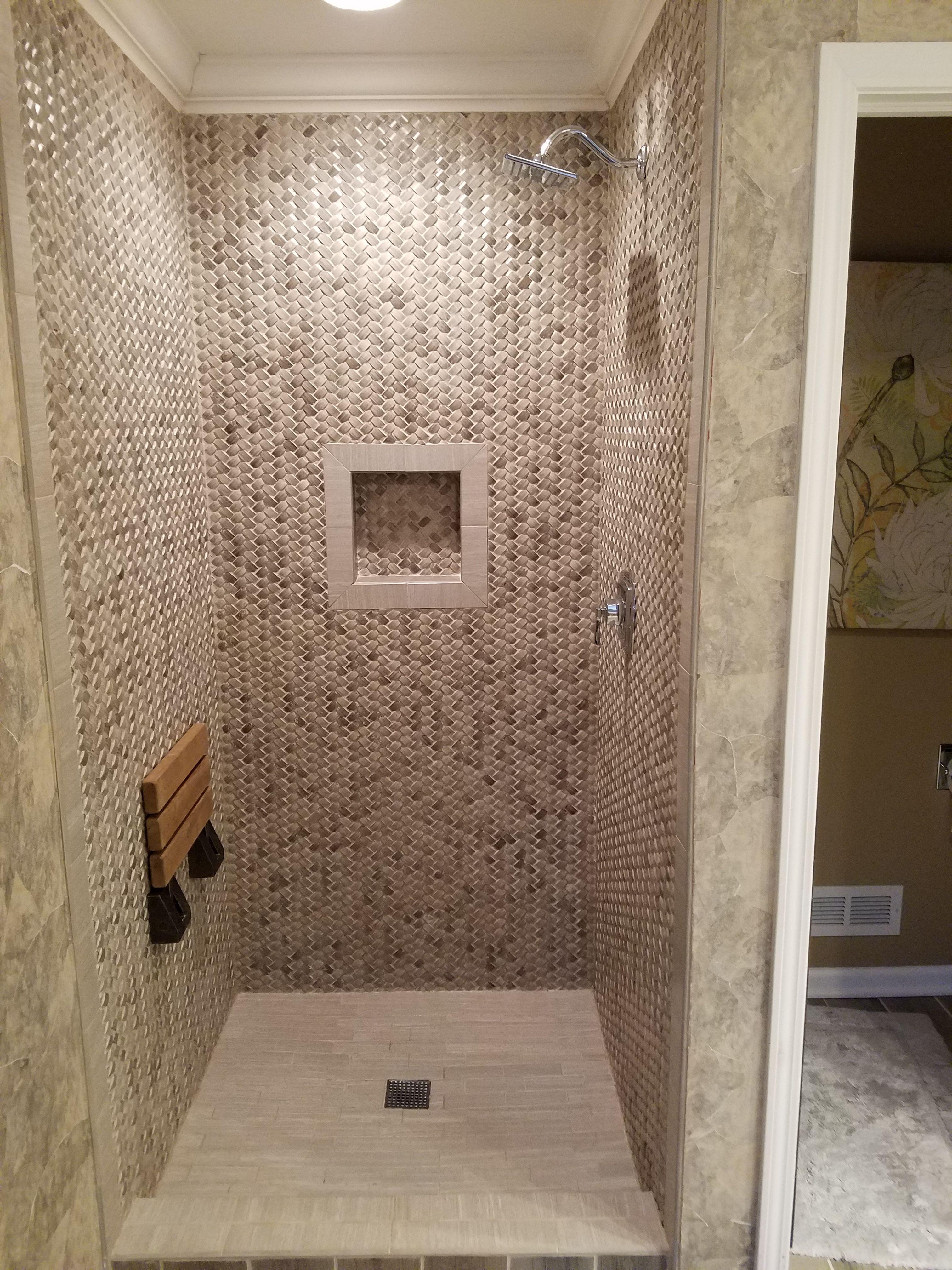 3d polished grey basket weave stone tile shower walls