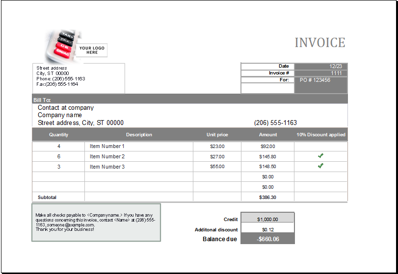 Invoice Template Microsoft Sales Invoice Download At Httpwww.xltemplatessalesinvoice .