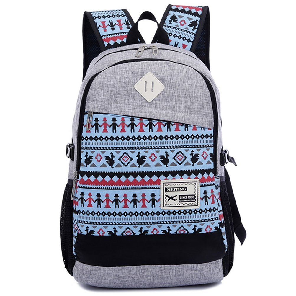 Fashion Plaza Hot Shoulders Backpack Rucksack teenage School Bag Girl Lady Student Sweet Canvas Colors Backpack School Campus Shoulder Book Bag Satchel female Girlfriend birthday gift Design with 5 star Style for teenage girls Girl Lady Shoulder Bags,Multi color option (Azure): Amazon.co.uk: Shoes & Bags