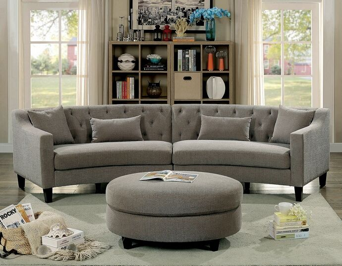 Cm6370 2 Pc Copper Grove Brezovo Sarin Aretha Warm Gray Linen Like Fabric Curved Back Sectional Sofa In 2019 Sectional Sofa Curved Sectional Tufted Sectional Sofa