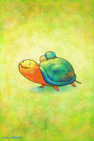 iPhone/iPod touch Wallpaper 021 Turtle, Turtle love