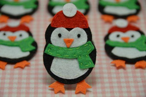 Set of 6pcs handmade felt penguinblack FT902 por AsecInc en Etsy, $5.89