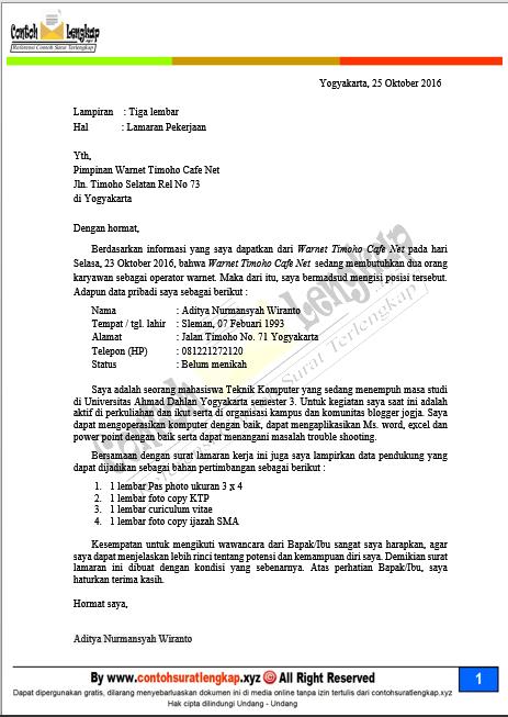 Contoh Surat Lamaran Kerja Di Warnet Game Center Pimpinan Teknik Komputer Surat