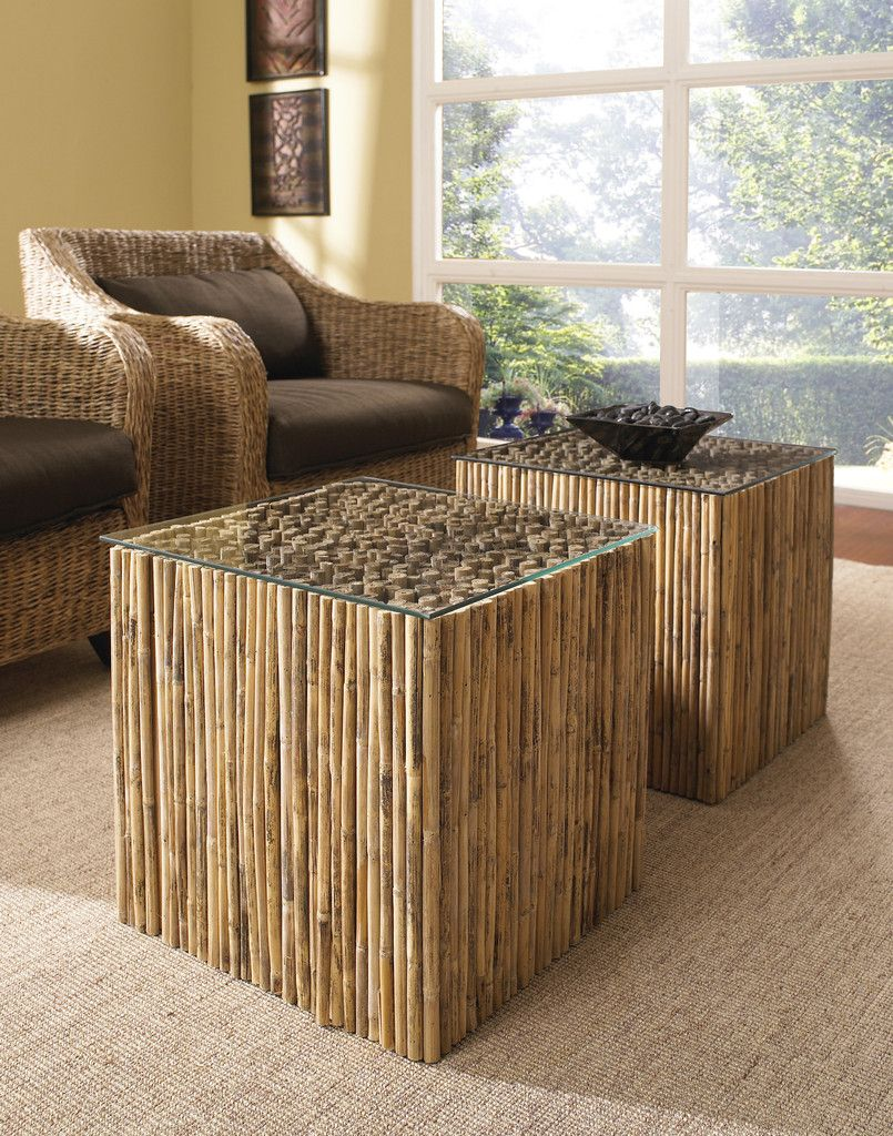 bamboo stick bunching table with glass diy furniture bamboo rh pinterest com