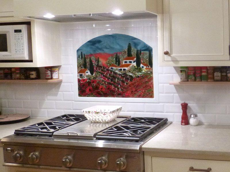 Fused Glass Kitchen Backsplash Vineyard and