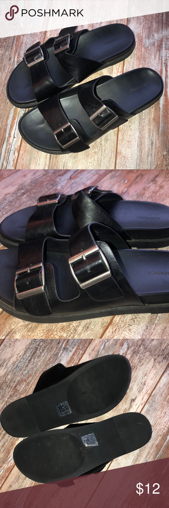 36795e94a54d Forever 21 Birkenstock Style Sandals Forever 21 all black with silver  detailing