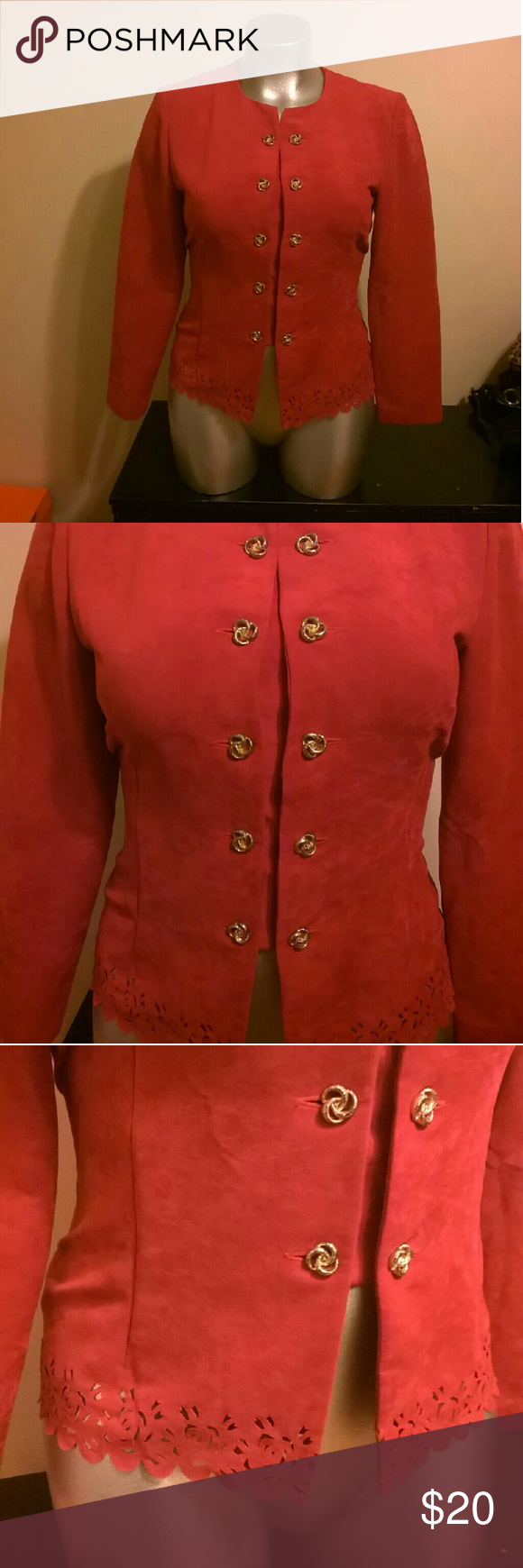 Leslie Fay Red Golden Button Blazer (With images