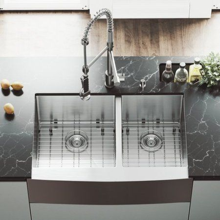 vigo 33 x 22 double basin farmhouse apron kitchen sink with rh pinterest com