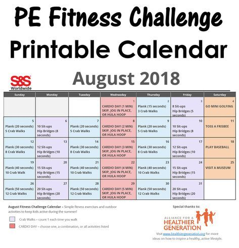 August Printable Fitness Challenge Calendar is part of Physical education lessons, Workout challenge, Exercise for kids, Popular workouts, Pe activities, Physical education games - Our August Fitness Challenge Calendar is here! We teamed up with the Alliance For A Healthier Generation to create this fitness calendar for the month of August 2019  Here is the link to the download Printable Fitness Calendar August 2019 Kids … Read More