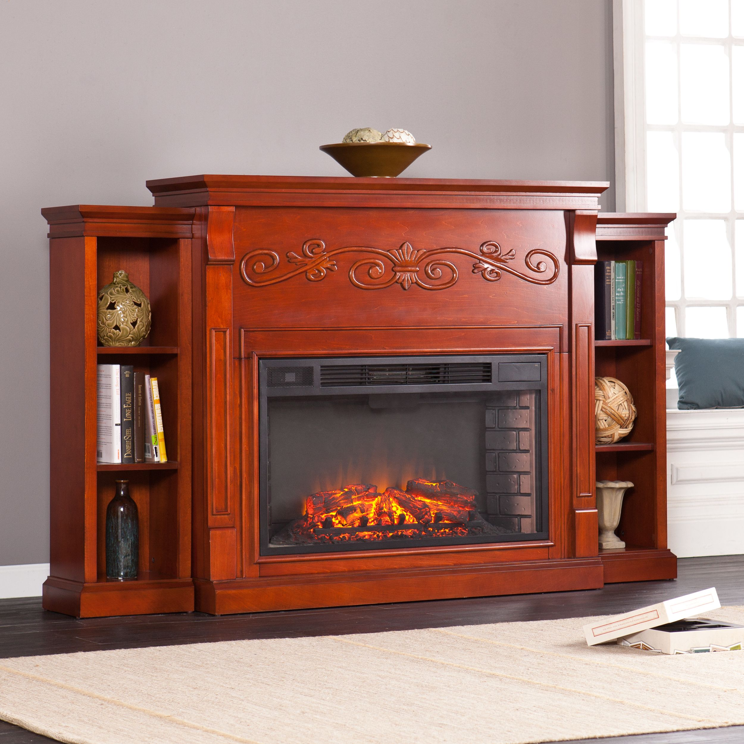 this upton home electric fireplace features a classic mahogany rh pinterest com