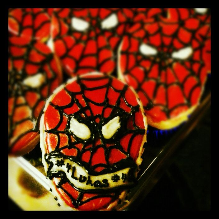 Spiderman cookie n' cupcake personalized