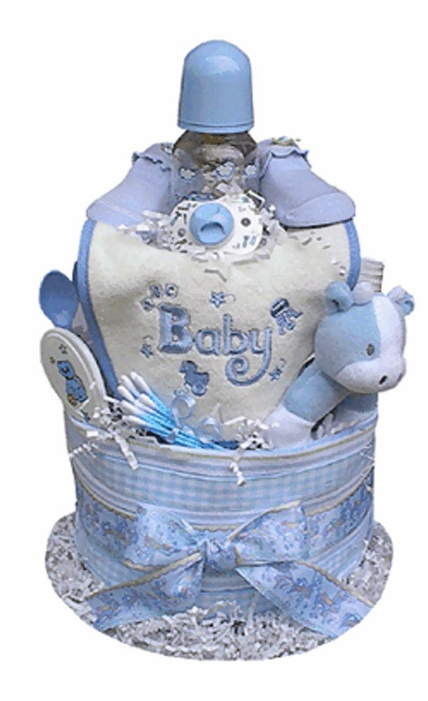 This colorful and fun boy-themed Diaper Cake is sure to charm the lucky gift recipient. Present one as a baby shower gift, or use it as a creative shower centerpiece. Every item in the Diaper Cake is