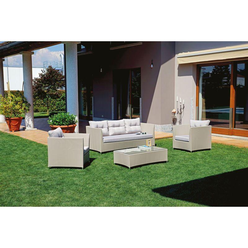 Salon de jardin en aluminium et textilène gris tourterelle ...