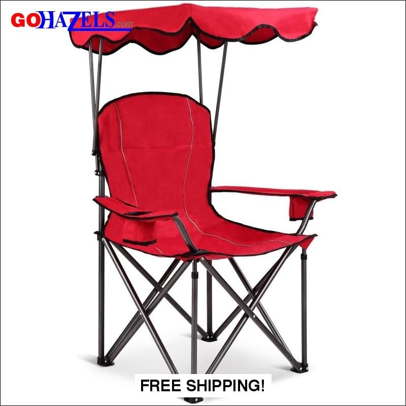 portable folding beach canopy chair with cup holders gohazels com rh pinterest com