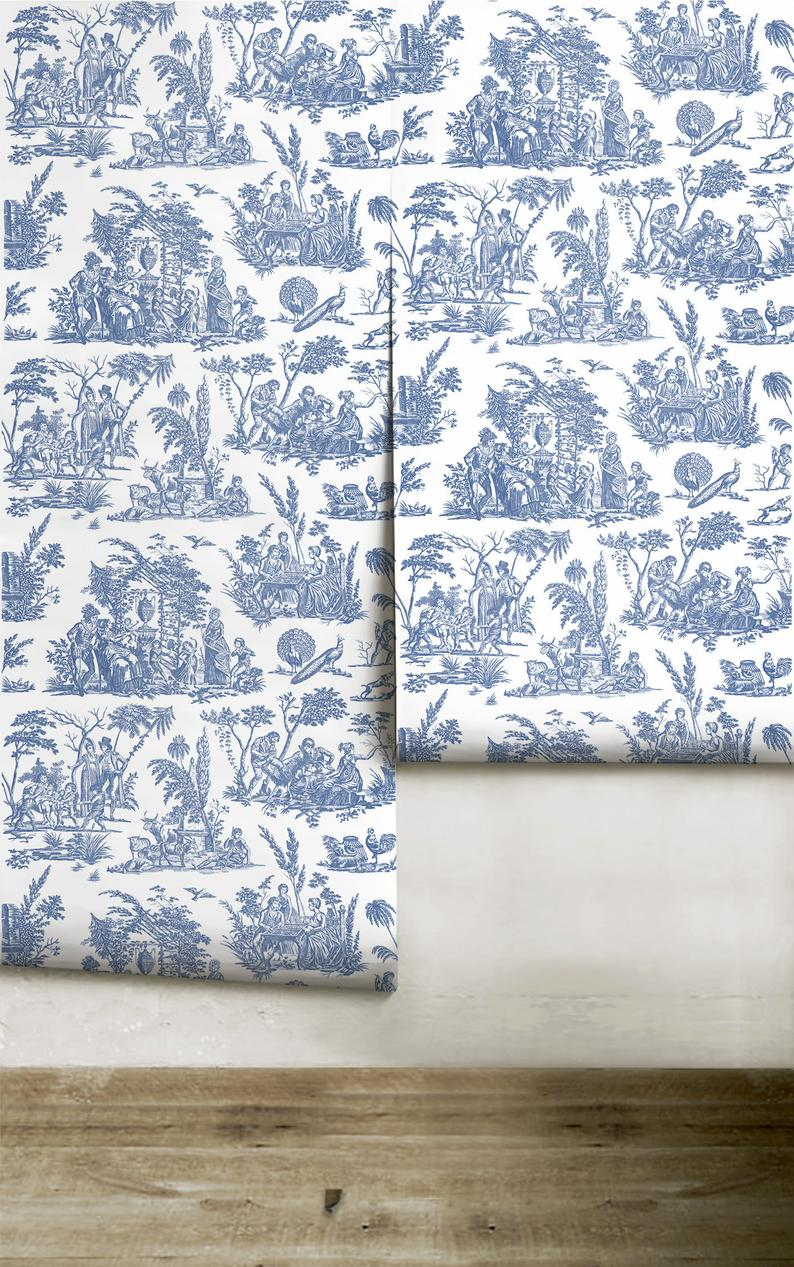 Marseilles Toile Willow Ware Blue Peel N Stick Or Etsy Willow Ware Prepasted Wallpaper Canvas Texture