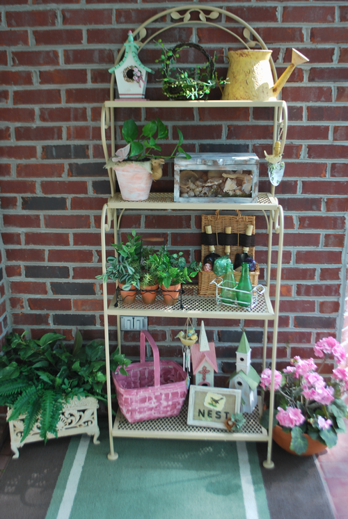 Cozy Home Scenes Cottage Style Porch Tour Outdoor Bakers Rack