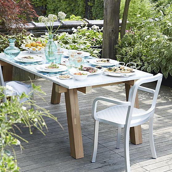 Riviera Rectangular Marble Top Dining Table in Riviera | Crate and Barrel  Wooden Garden Table, - Riviera Rectangular Marble Top Dining Table In Riviera Crate And
