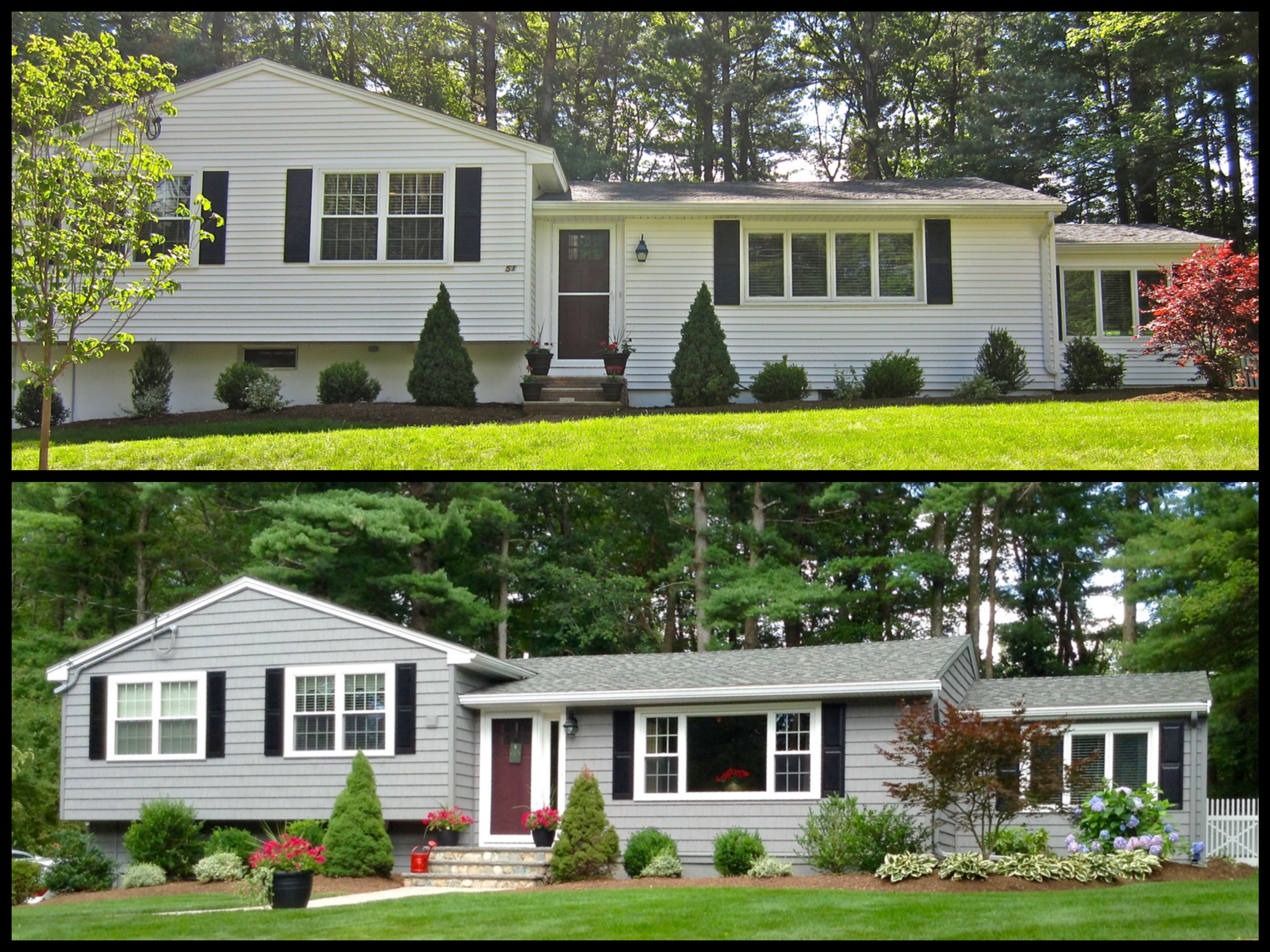 Before And After Using Certainteed Cedar Impressions Vinyl Siding In Charcoal Gray And Har Exterior House Renovation Vinyl House Home Remodeling Contractors
