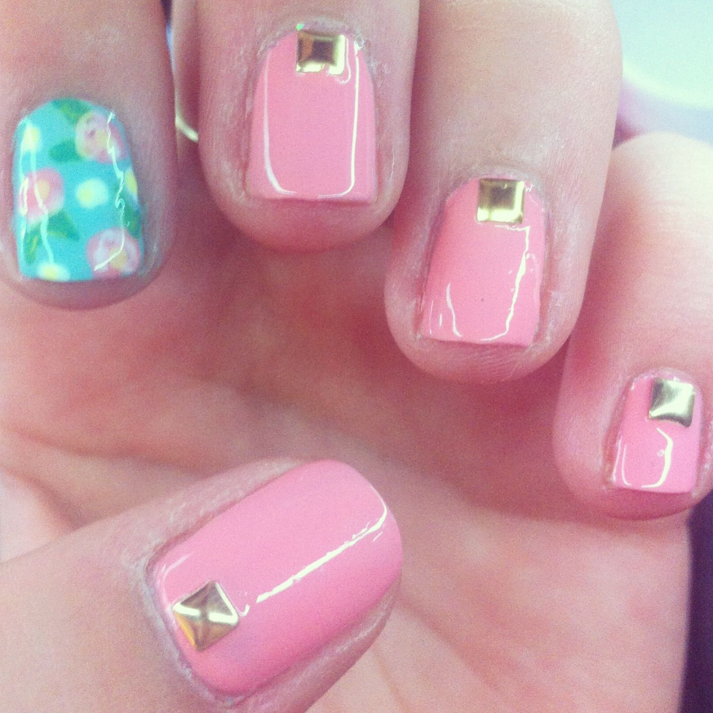F is for floral. Flower nails with studs
